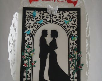 Kit card white custom window with married couple to make you even