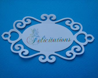 Cutout tag personalized white canson paper for creation
