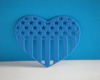 Heart flag USA blue foam cut