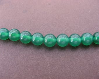Green agate: 10 round beads 6 mm