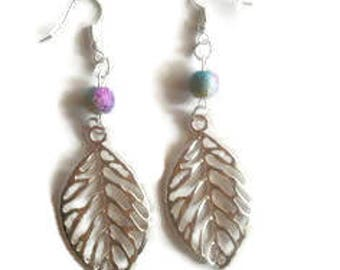Leaf silver metal beads Galaxy earrings / gift / birthday / mother's day/Christmas party