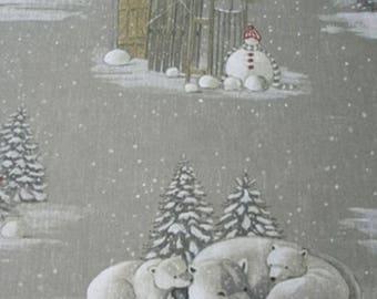 """Christmas fabric """"Snow white"""" linen Thévenon"""