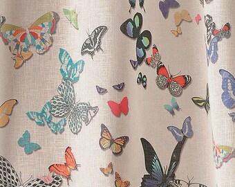 fabric, sheer, butterflies, butterfly, garden, 150 cm