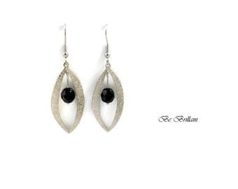 Spangled silver plated brass, faceted beads black leaf earrings