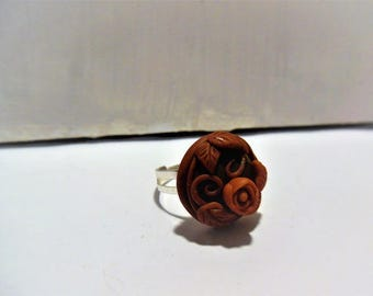 Burgundy flower ring