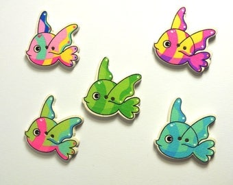 LOT 5 wood buttons: fish 30 * 22mm (04)