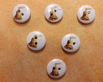 SET of 6 wood buttons: round theme Starfish motif Bell 15mm (25)
