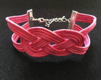 Fashion cotton sailor knot bracelet fuchsia wax