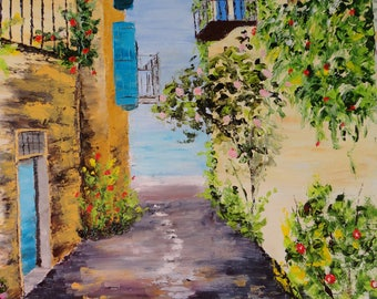 table Mediterranean alley - knife oil painting - Provence landscape