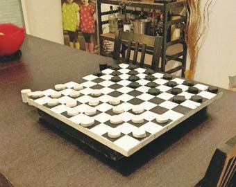 Great game of checkers on wooden tray... XXL