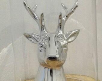 Under glass reindeer head