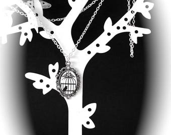 DIY LIPIKI KIT: Long cage and birds black and white glass and fine silver metal chain necklace