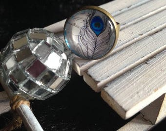 "bronze Adjustable ring ""Peacock feather spirit"""