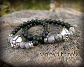 Bracelets father & son duo of natural stones and Ref Gladiator helmet: BN-387