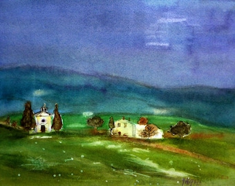 watercolor landscape of countryside in Italy evening
