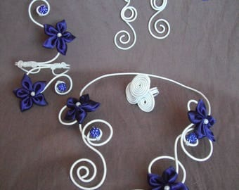 transparent white glass flower and Pearl Jewelry