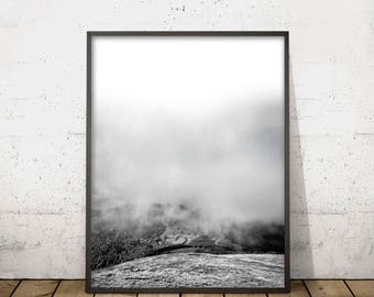 MOUNTAIN WALL ART Print, Mountain Print, Black and White Art, Scandinavian Design, Mountain Clouds Landscape Photography, Digital Download