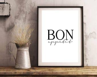 Bon Appetit Print - Kitchen Wall Art, Instant Download, Kitchen Printable, Digital Poster, Enjoy Your Meal, Kitchen Art Print, Bon Appetit
