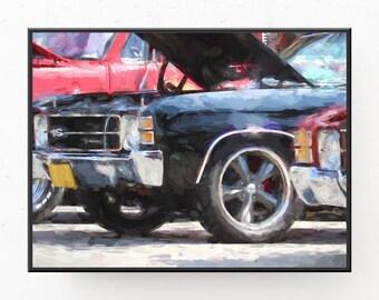 Classic Car Prints - 1971 Chevelle SS Art Print, Digital Download, Gift for Dad, Classic Car Art Print, Classic Car Wall Art, Printable Art