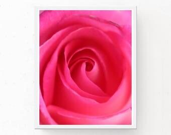 Pink Rose Photograph - Pink Rose Print, Digital Download, Rose Art Print, Printable Wall Art, Pink Rose Poster, Pink Decor, Flower Print