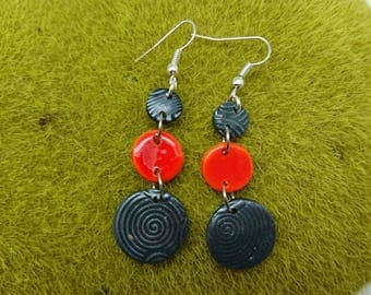 earings in polymer clay orange and black LUNA