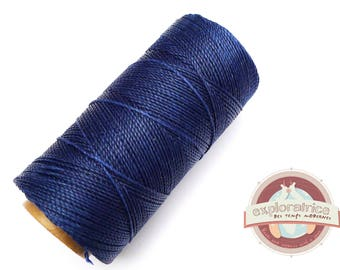 8 meters of waxed macrame blue storm 0.7 mm polyester cord