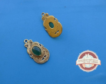 Indian gold ethnic pendant and jade green