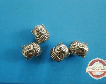 4 beads 8x10mm silver Buddha head