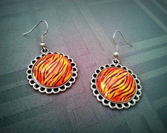 Earrings Tiger cabochon glass 20mm, tiger skin patterns