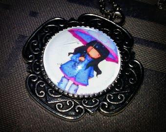 Children necklace, 20mm pattern glass cabochon umbrella girl