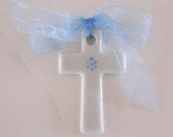 Cross Blue organza Ribbon, hand painted fine porcelain