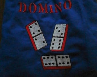 DOMINO, machine embroidery pattern on blue cotton canvas and 28-piece wood cut Birch wood