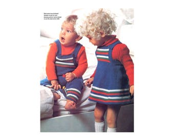 Jumper & Playsuit Knitting Pattern - for toddlers, one-piece dress and coveralls