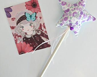 Two-tone fairy star wand / Liberty violet with Bell in STOCK