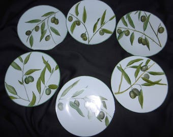 6 plates with hand painted porcelain appetizer. Pattern of olives and olive branches.
