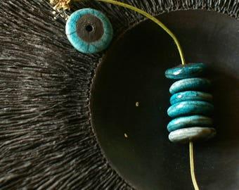 Set of 2 ceramic - blue and black disk beads-