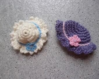 Lot de 2 chapeau miniatures au crochet réalisés à la main en coton