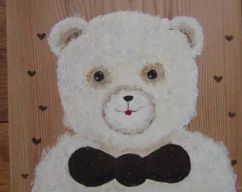 White Teddy bear with his bow tie Brown