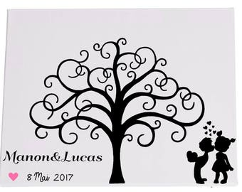 Canvas fingerprint tree guestbook 60/80 wedding guests