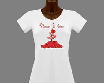 I love you MOM message white women t-shirt