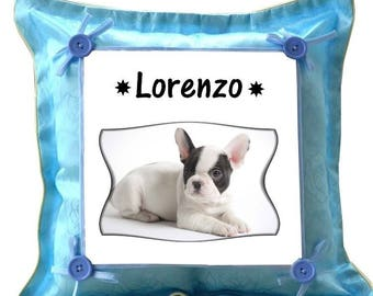 French Bouldog blue pillow personalized with name