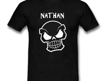 Black t-shirt skull personalized with name