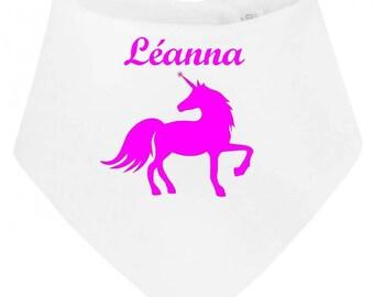 Bib bandana baby Unicorn personalized with name