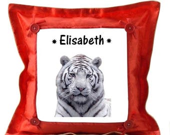 Red pillow personalized with name White Tiger