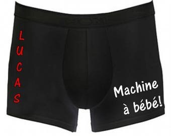 Black Boxer Machine has baby personalized with name
