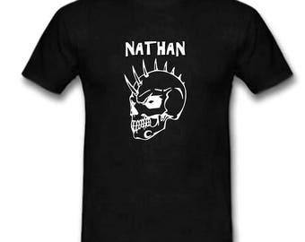 Black t-shirt helmet skull personalized with name
