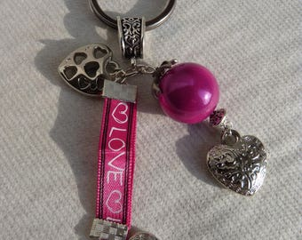 pink heart key ring and silver