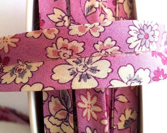 floral liberty fabric - purple and beige 50 cm - 20 mm flat