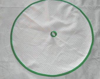cream towel round towel, honeycomb - emerald green bias