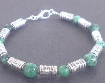 Men's Bracelet: stone and metal